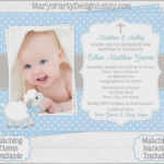 Baby Boy 1St Birthday Invitation Card Wordings Invitations intended for Baptism Invitation Card Template