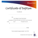 Baptism Certificate – 4 Free Templates In Pdf, Word, Excel Intended For Christian Baptism Certificate Template
