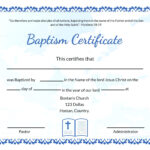 Baptism Certificate Template Word – Heartwork For Christian Baptism Certificate Template