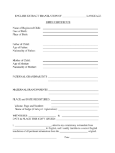 Birth Certificate Translation Template - Fill Online with regard to Mexican Birth Certificate Translation Template