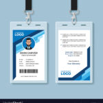 Blue Graphic Employee Id Card Template Inside Work Id Card Template