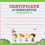 Certificate Template With Kids Walking In The Park Illustration intended for Walking Certificate Templates