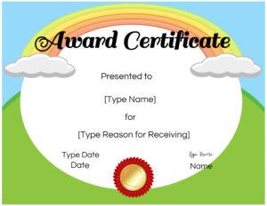Certificates For Kids regarding Certificate Of Achievement Template For Kids