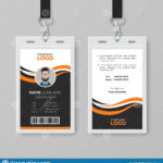 Creative Modern Id Card Template With Orange Details Stock With Regard To Work Id Card Template