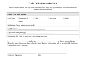Credit Card Authorization Form Templates [Download] pertaining to Credit Card Payment Slip Template