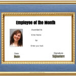 Free Custom Employee Of The Month Certificate Pertaining To Employee Of The Month Certificate Template