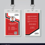 Modern Red Id Card Template Pertaining To Work Id Card Template