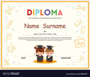 Preschool Kids Diploma Certificate Template throughout Preschool Graduation Certificate Template Free
